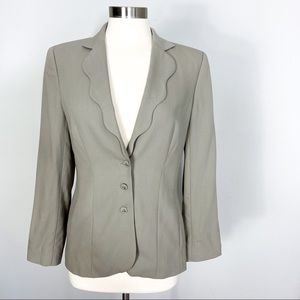ESCADA Scalloped Lapel Wool Blazer in Beige